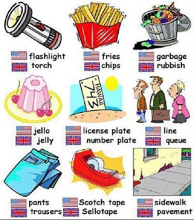 skraćenica AmE ili US, a pored tipične britanske BrE ili Brit