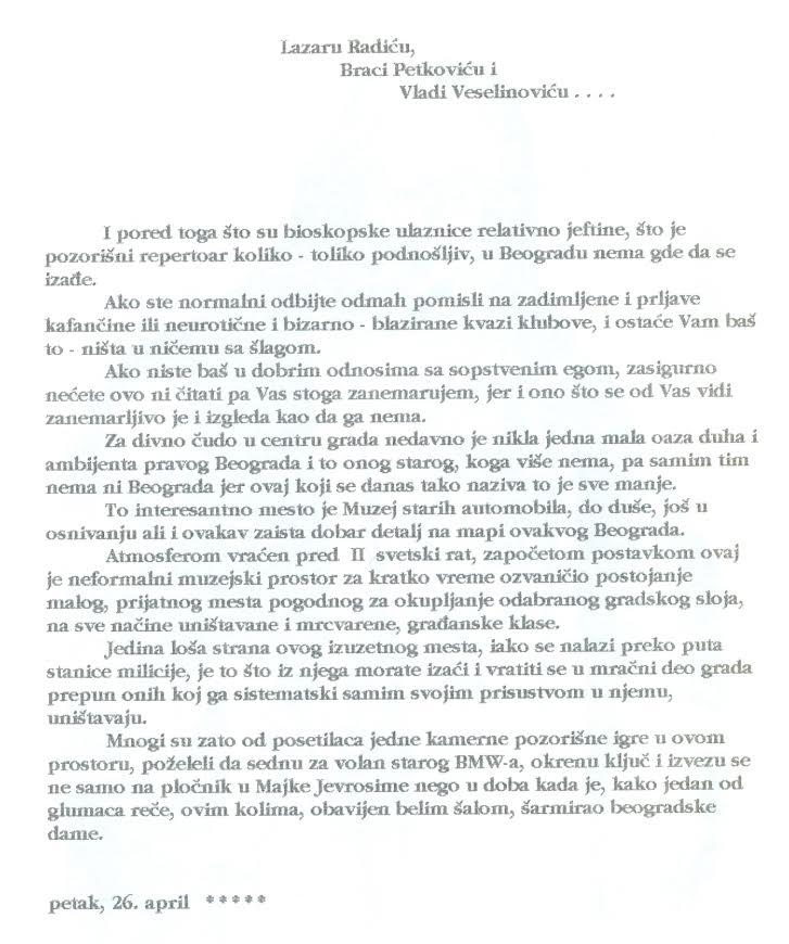 Crtice iz svakodnevice, priča Ljube Brankovića iz 1995/96